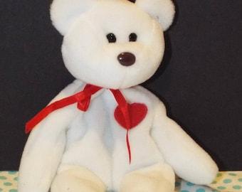 VINTAGE 1993 TY Valentino Beanie White Bear. Fuzzy white TY Valentino Teddy Bear with red heart.