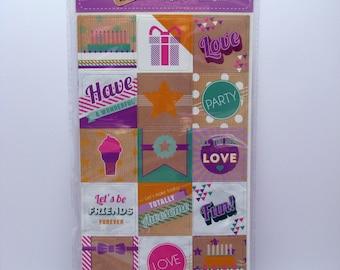 Magnet set - purple - fun - party - love - 18 magnets