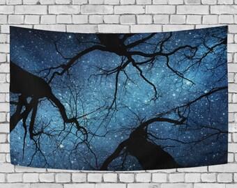Night Sky Starry Night Tapestry Wall Hanging Milky Way Galaxy  Tree Wall Decor Art for Living Room Bedroom Dorm