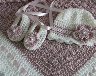 Crochet Baby Blanket Afghan Hat and Booties Set Dusty Pink with Ivory Baptism Christening Baby Girl Boy Shower Gift Pram and bed accessory