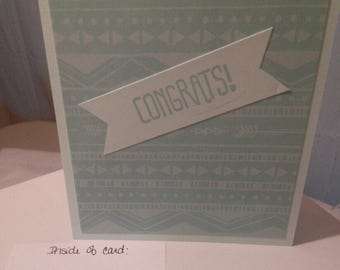 Congrats Card Turquoise with Banner