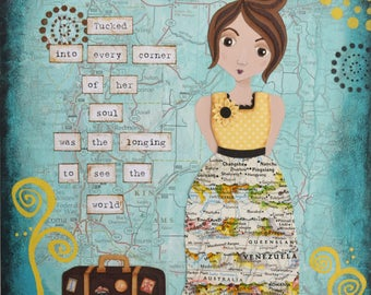 Wanderlust Mixed Media Collage Art Print