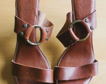 Vintage Frye Wood-Heeled Sandal Size 7.5