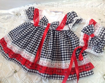 Hannahs Boutique 0-3 months red and navyl frilly dress and bonnet set. Free p&p