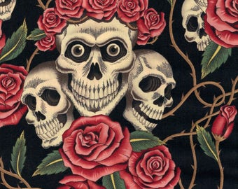 Alexander Henry Gothic Rose Tattoo Skulls & Pink Roses on Black 100% Cotton Fabric - FQ