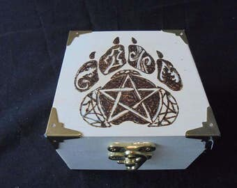 Four elements paw hand Pyrography box