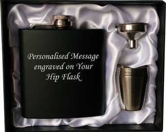 Personalised 6oz black HIP FLASK in GIFT box with funnel and 4 shots (white liner)