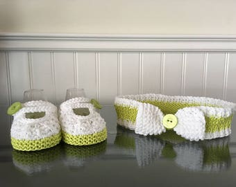 Set of headband and booties/green/white/baby girl / 0-6 months / loop/knit