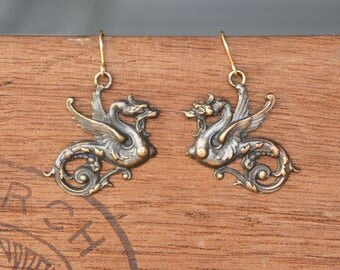 French Brass Stamped Fierce Dragon earrings