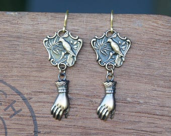 Bird and Hand Earrings French Brass Antique Vintage Style