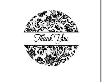 Damask Round Thank You Sticker Labels - Optional Colors and Sizes