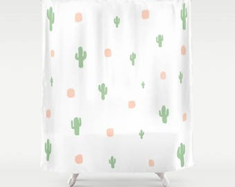 Cactus Shower Curtain, White Shower Curtain, Shower Curtain Art