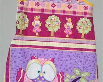 Sleeping bag, owl 100% cotton for baby size 3 months