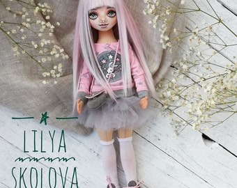 Textile doll blonde textile doll and interior doll fabric doll portrait doll cloth textile doll текстильная кукла selfy doll portrait doll
