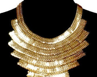 Thick Gold Metal Bib Necklace Set with Tribal Eight Layered Necklace Pendant