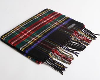 Black Royal Stewart Lambswool Scarf