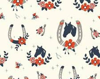 ORGANIC : Tall Tales  Buttermilk Horse Fabric  by Birch Fabric TT-03-Cream