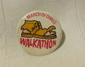 Vintage March of Dimes Walkathon Fold Over Metal Pin Back Button