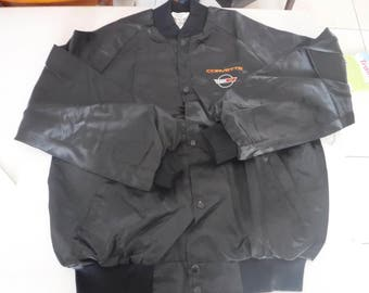 vintage black satin Corvette Jacket XL