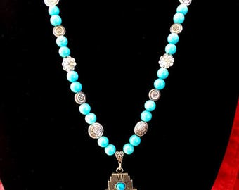 Turquoise and Silver Cross Necklace
