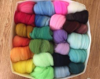 24 Felting Wool Colors, Needle Felting Color Box, Felting Wool, Felting Kit, Felting Wool Collection, 6 Ounces of Mix Roving