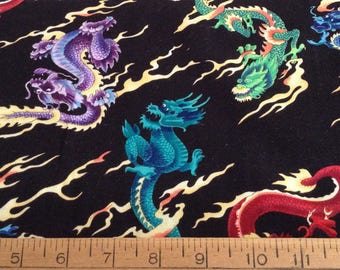Colorful dragons cotton fabric by the yard