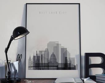 Salt Lake City Art Salt Lake Watercolor Salt Lake Wall Art Salt Lake Multicolor Salt Lake Skyline Salt Lake Wall Decor Salt Lake Poster