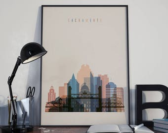 Sacramento Art Watercolor Sacramento Wall Art Multicolor Sacramento Print Wall Decor Sacramento Poster Home Decor Sacramento Photo Unframed