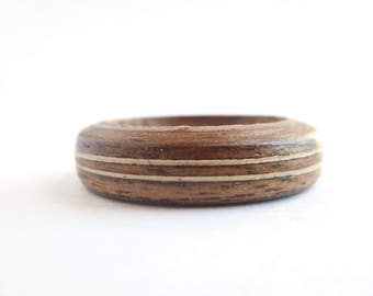 Walnut Ring with Inlay-Wooden Ring-Wood Ring for Men-Wood Ring for Women-Wooden Engagement Ring-Wooden Wedding Ring-Wood Ring