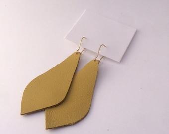 Mustard Yellow Leather Earring