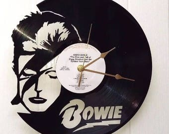 David Bowie vinyl record wall clock, vintage record, classic Iconic legend legendary cover, retro clock, old school pop rock and roll