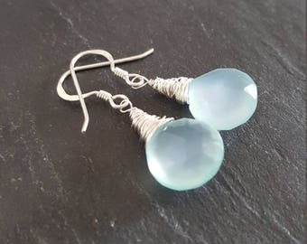 REDUCED - Aqua blue Chalcedony and Sterling silver wire wrapped earrings