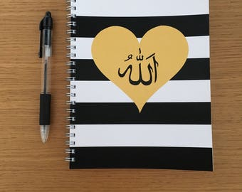 A5 Wire Bound Striped Allah Notebook