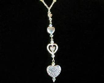 Silver 5 Heart Charm Necklace