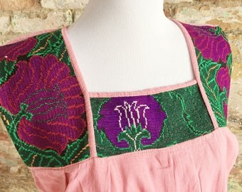 Mexican Embroidered Top / Mexican Peasant Blouse /Mexican Embroidered Blouse / Bohemian Embroidered Top / Pink Mexican Top