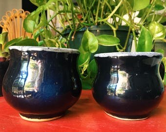 Vintage Ceramic Mugs, Pair of Bohemian Glazed Coffee Cups