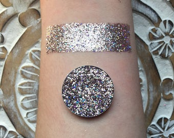 Holographic pale pink pressed glitter eyeshadow, 26mm magnetic pan or jar, cosmetic grade glitter