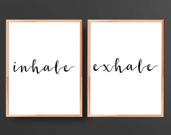 Inhale Exhale Print Yoga Wall Art Pilates