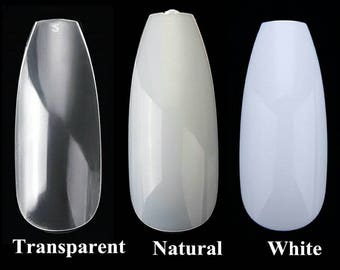 500pcs/Bag Ballerina Nail Art Tips Clear/Natural  Coffin  Nails Art Tips Flat Shape Full Cover Manicure Nail Tip. DIY, clear, Press On Nails