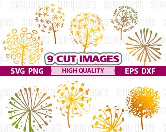 Dandelion Svg, Dandelion Clipart, Spring Svg, Dandelion Decal, Dandelion Art, Flower Svg Files, Cuttable Svg, Svg Decals, Monogram Decal Svg