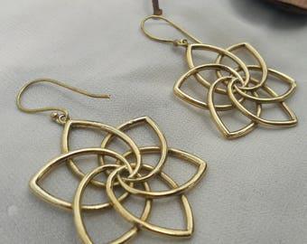 Star Dangle earrings,geometry earrings,mandala earrings,Etnic earrings,Bohemian,Boho earrings,Brass earrings,sacred Geometry,psy,tribal