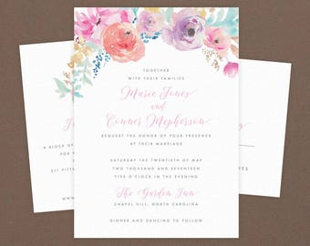 Digital OR Printed Wedding Invitation Suite // The DELICATE FLOWER Collection // Script, Floral, Spring, Whimsical, Classic, Elegant