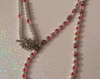 Red swavorski crystal and pearl necklace