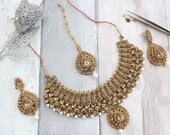 Antique Gold Indian Bollywood Handmade Threaded Necklace Set with Earrings Tikka Headpiece Bridal Wedding