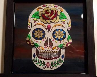 3D Resin Sugar Skull #1 - 11 x 11 Inch