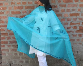 Bright Blue Creeper applique with running stitch dupatta