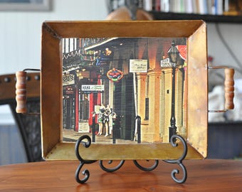 Small Copper decorative tray with French Quarters New Orleans street scene.