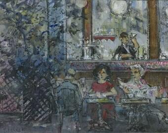 Café de Paris, internal scene, characters, original painting.