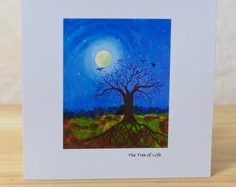 Tree of Life: Greeting card, quality reproduction of an original painting, (Free Post anywhere in the UK).