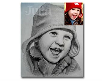 "Christmas gift, Baby Portrait Custom Portrait from your photo, Pencil Drawing 9""x12"""